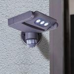 Lutec Mini LED Spot einstellbare Außenwandleuchte mit Sensor IP65 Anthrazit