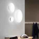 s.LUCE Pane Ø 30 cm puristische Glas Decken-& Wandleuchte / Weiss / Glasleuchte