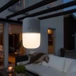Konstsmide 7805-302 Assisi Solar LED Leuchte zum Hängen oder Hinstellen Grau opales Acrylglas