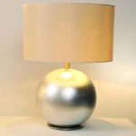 Holländer 039 K 1256 Tischleuchte Epsilon Grande Keramik-Metall BlattverSilbert-Vernickelt