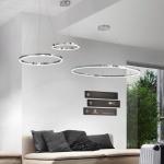 Ring XL LED-Hängeleuchte Ø 100cm Chrom Wohnzimmer Hängelampe