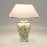 Holländer 014 K 1250 Tischleuchte Farngeflecht Keramik Grün-Weiss