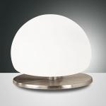 Fabas Luce 2513-30-178 Morgana Tischleuchte mit Touchdimmer & Glasschirm Nickel-Satiniert Weiß