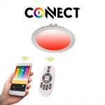 Connect LED-Einbaupanel Ø12cm Alu-Matt 700lm RGB+CCT LED Einbauspot