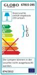 Sahara Stehleuchte LED 1 Rohr gebogen C-Form Kabel 1, 80m 1900lm Nickel-Matt Acryl Satiniert