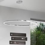 Ring L / LED-Hängeleuchte Ø 80 cm / Chrom Wohnzimmer Hängelampe