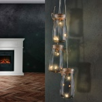 Rosalie Hängeleuchte LED / 3 Stk. Einmachgläser zum Aufhängen