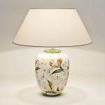 Holländer 014 K 1252 Tischleuchte Lilien Keramik Grün-Weiss-Violett