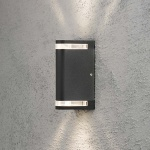 Konstsmide 7518-750 Modena Aussen-Wandleuchte mit doppeltem Lichtkegel Schwarz klares Acrylglas