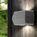Eglo 93485 Norika 1 LED Aussen-Wandleuchte 4-flammig Silber Weiss Klar