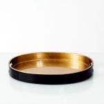 Holländer 132 3708 Tablett Giulia Oval Klein Fiberglas Gold-Schwarz