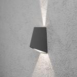 Konstsmide 7928-370 Imola LED Aussen-Wandleuchte mit doppeltem Lichtkegel Anthrazit klares Acrylglas