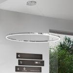 s.LUCE pro LED-Hängelampe Ring L Dimmbar Ø 80cm in Chrom Wohnzimmer Ring Hängelampe