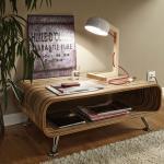 Licht-Trend Woodano / Holz-Tischleuchte / 47 cm / mit rotem Textilkabel / Tischlampe