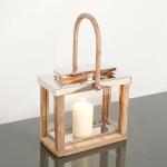 Holländer 240 3522 Laterne Mineraria Aluminium-Holz-Glas Natur-Silber