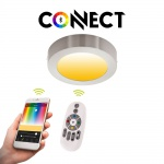Connect LED-Deckenleuchte Ø22, 5cm Alu-Matt 2000lm RGB+CCT LED Deckenlampe
