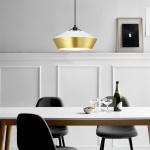 s.LUCE LED Hängelampe SkaDa Ø 40cm in Weiss Gold Esstischleuchte Esszimmerlampe