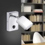 LeuchtenDirekt 11241-17 Wella LED Wandleuchte + Wippschalter / 4, 20W / 3000K / Chrom