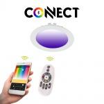 Connect LED-Einbaupanel Ø12cm Weiß 700lm RGB+CCT LED Einbauspot Strahler