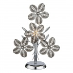 Kaunos Tischleuchte Blütenform Kabel 1, 50m Chrom Acryl Rauch