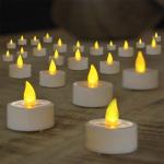 24er-Set warmweiße LED Teelichter in Aufbewahrungsbox / Kerzen mit Flackereffekt