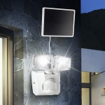 LED Solar Sensor-Wandstrahler 2-flammig Weiss Solar Gartenlampe Gartenleuchte