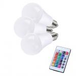 LeuchtenDirekt 08134-3 E27 LED Leuchtmittel 3er-Set + Fernbedienung / 470 Lumen / 7W