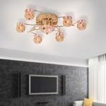LeuchtenDirekt 50341-10 Osea LED Kugel Deckenleuchte 8 x G4 14W + 15 x LED 0, 05W Messing poliert