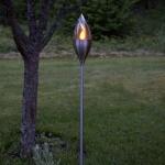 Premium XL LED Solar-Fackel in Edelstahl 110cm LED-Solarleuchte LED-Solarlampe