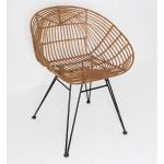 Holländer 358 2715 Stuhl mit Lehne Seguito Rattan-Metall Honigbraun-Schwarz