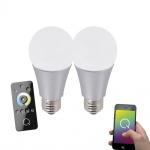 LeuchtenDirekt 08135-2 E27 2er-Set Q-LED Leuchtmittel + Fb. / 8, 50W / 650 Lumen / 2700-5000K