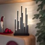 LED Metallleuchter schwarz lackiert 13 Warmweiße Dioden 3V Innentrafo