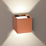 s.LUCE Würfelförmige LED Wandleuchte Ixa + verstellbare Winkel Kupfer Wandlampe