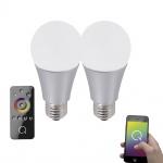 LeuchtenDirekt 08136-2 E27 2er-Set Q-LED RGB Leuchtmittel + Fb. 7, 50W 3000K