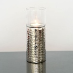 Holländer 208 3516 Windlicht Grazioso Mittel Aluminium-Glas Silber-Klar