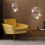 s.LUCE pro Sphere 40 Glaskugel mit 5m Kabel loser Fassung Chrom Klar Glas Pendellampe Glaslampe
