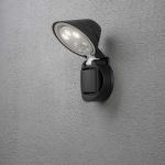Konstsmide 7695-750 Prato Batterie LED Wandaufbauleuchte mit Bewegungsmelder, schwenkbar / 12V / Schwarz