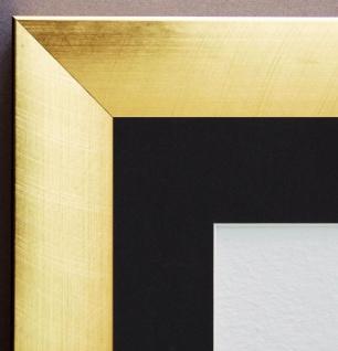 Bilderrahmen Bergamo Gold Modern mit Passepartout in Schwarz 4, 0 - alle Größen