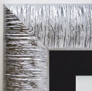 Bilderrahmen Rostock Silber Modern Passepartout in Schwarz 7, 2 - alle Größen