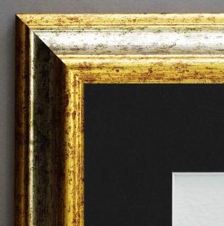 Bilderrahmen Bari in Silber Gold Antik Passepartout in Schwarz 4, 2 - alle Größen