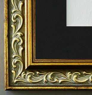 Bilderrahmen Verona in Grau Gold mit Passepartout in Schwarz 4, 4 Top Qualität