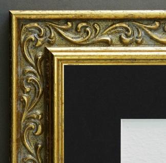 Bilderrahmen Verona Gold Barock mit Passepartout in Schwarz 4, 4 - alle Größen