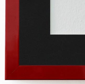 Bilderrahmen Como in Rot Lack mit Passepartout in Schwarz 2, 0 - NEU alle Größen