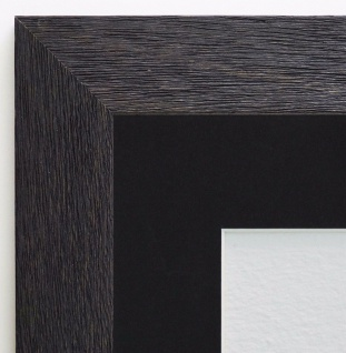 Bilderrahmen Florenz Schwarz struk. Modern Passepartout Schwarz 4, 0 - jede Größe