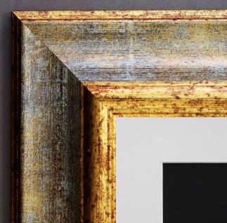 Bilderrahmen Acta in Grau Gold Antik mit Passepartout in Weiss 6, 7 - alle Größen