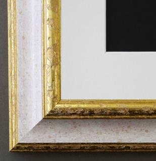 Bilderrahmen Genua Weiss Rot Gold mit Passepartout in Weiss 4, 3 - NEU jede Größe