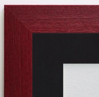 Bilderrahmen Florenz in dkl. Rot Antik Passepartout in Schwarz 4, 0 - alle Größen