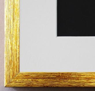 Bilderrahmen Como in Gold struk. mit Passepartout in Weiss 2, 0 - NEU alle Größen