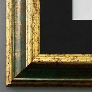Bilderrahmen Bari in Grün Gold mit Passepartout in Schwarz 4, 2 - NEU alle Größen