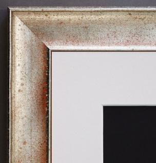 Bilderrahmen Matera Silber Orange Modern Passepartout in Weiss 3, 9 - alle Größen